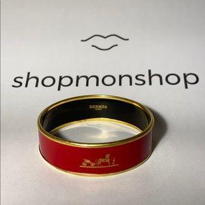 HÈRMES Wide Calèche Red Bracelet 100% Authentic